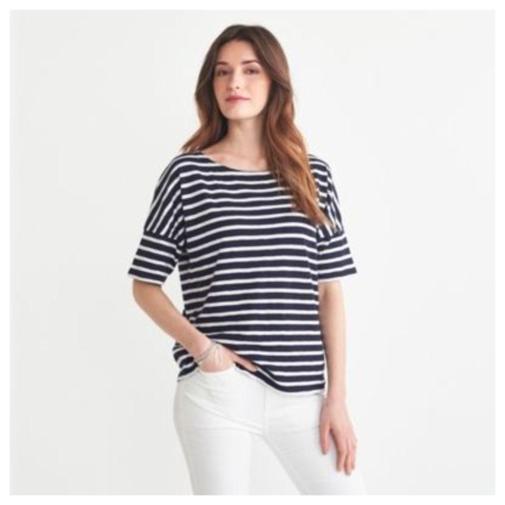 Cotton Slub Drop Shoulder Stripe T-shirt