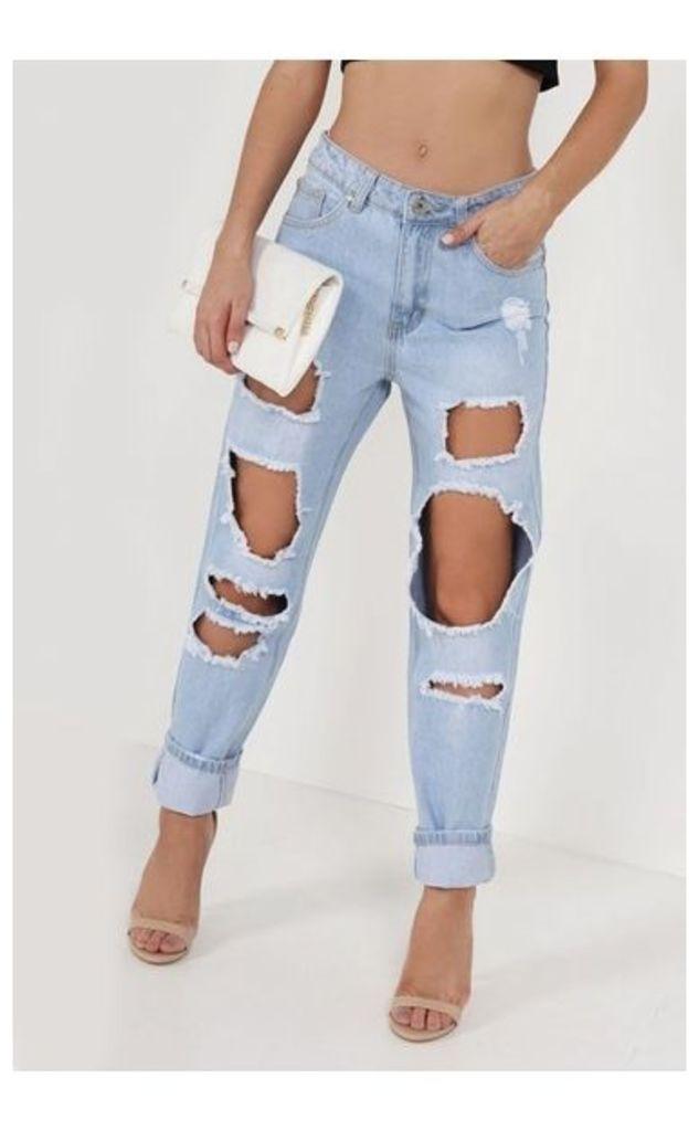 Mica Light Denim Distressed Boyfriend Jeans