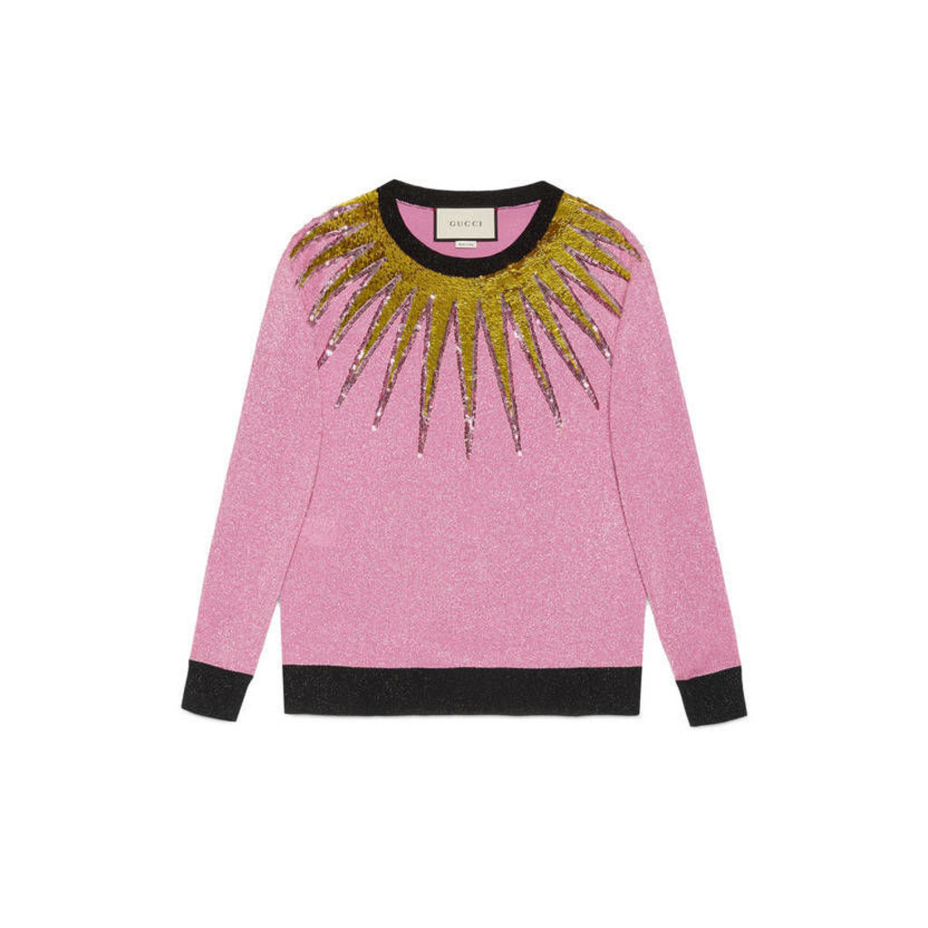 Embroidered lurex knit top