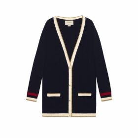 Embroidered oversize knitted cardigan