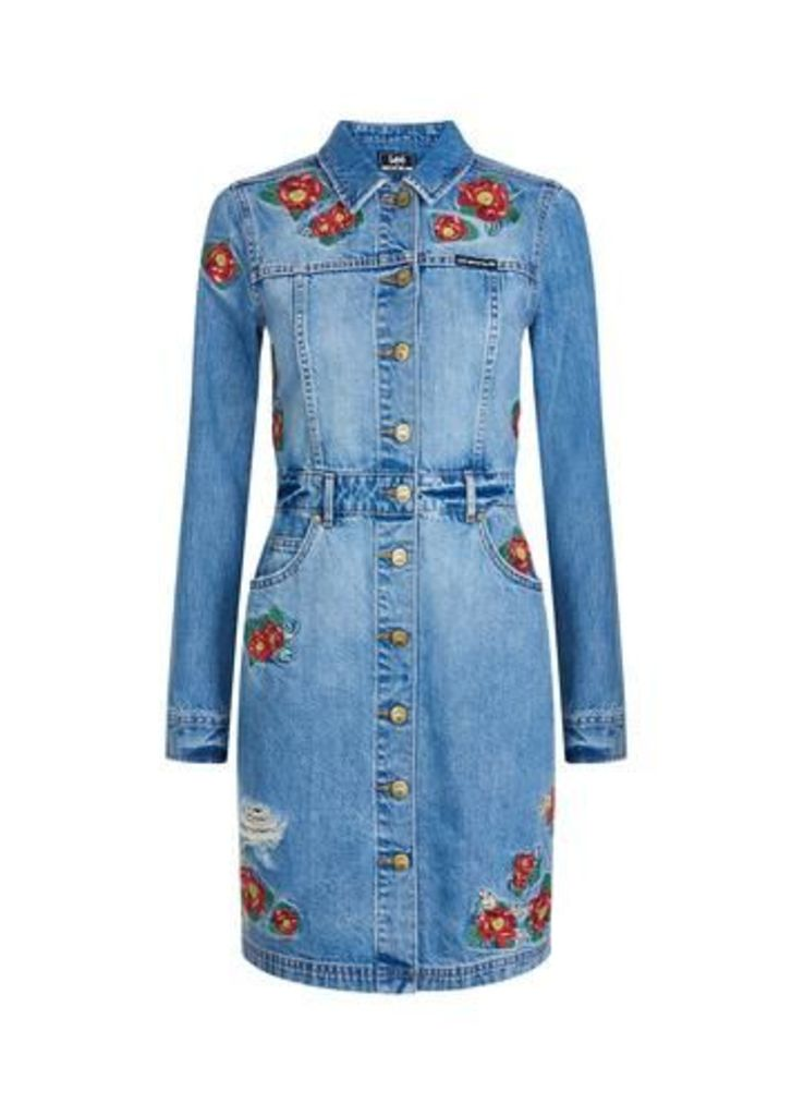 Floral Embroidery Shirt Dress