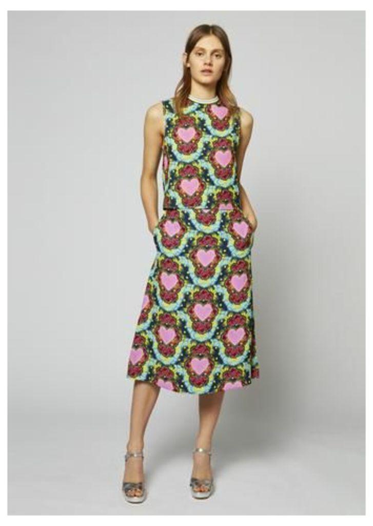 Heart Crepe A-Line Midi Skirt