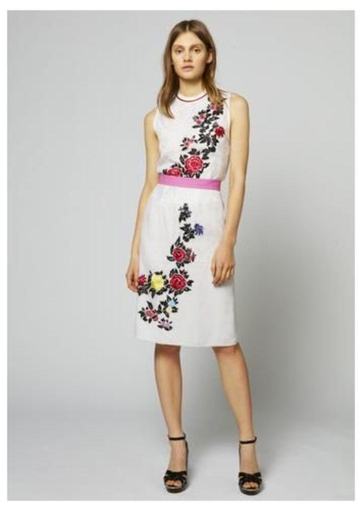 Silk Sheer Rose Pencil Skirt