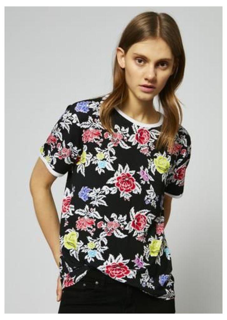 Rose Repeat Jersey Shrunken T-Shirt