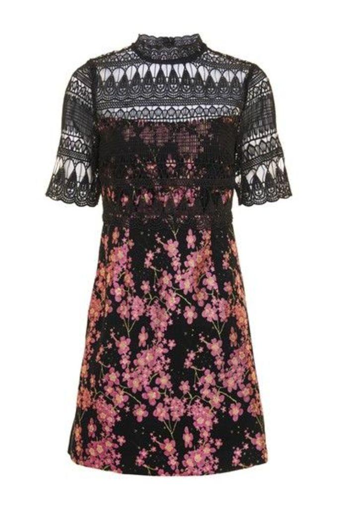 Womens Jacquard Top A-Line Dress - Multi, Multi
