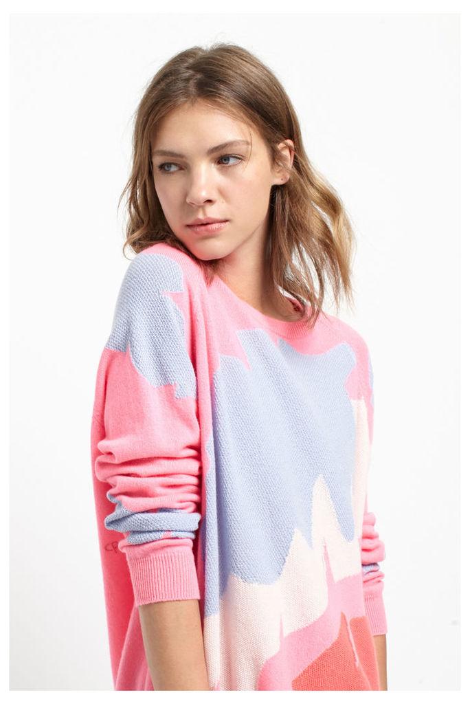 Palm Leaf Pink Cashmere Sweater