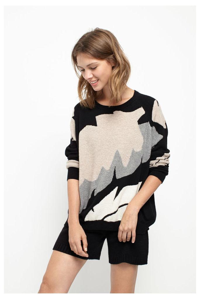 Palm Leaf Black Cashmere Sweater