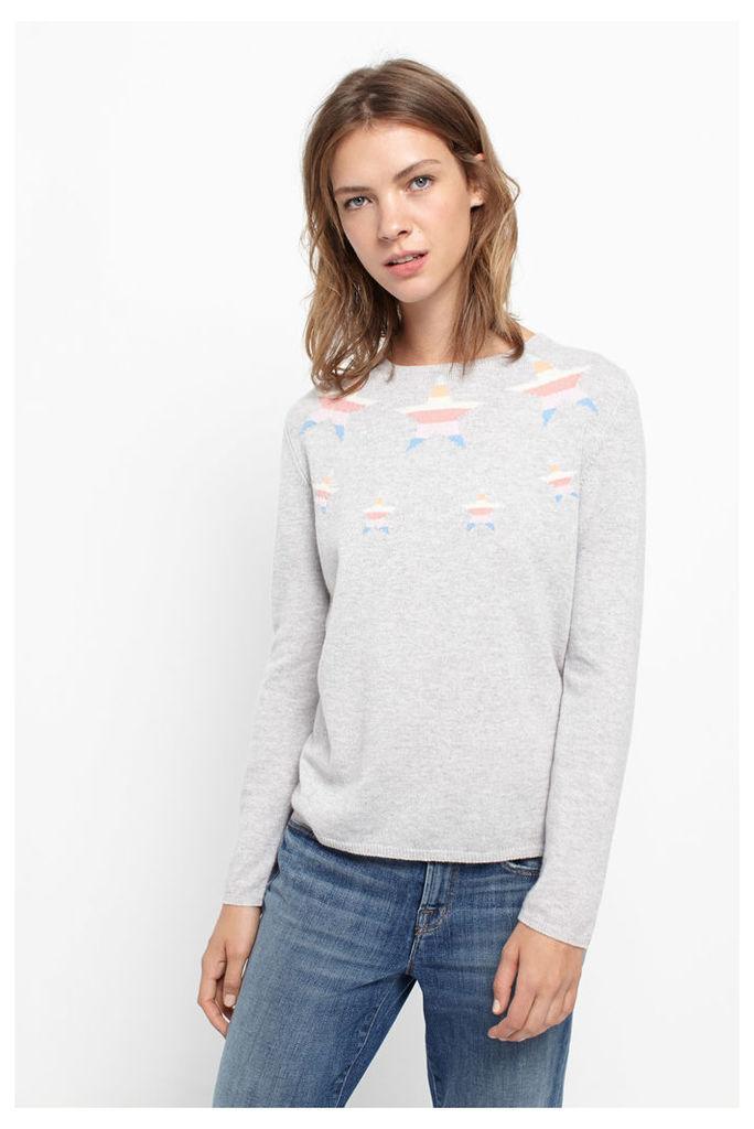 Rainbow Star Panel Cashmere Sweater