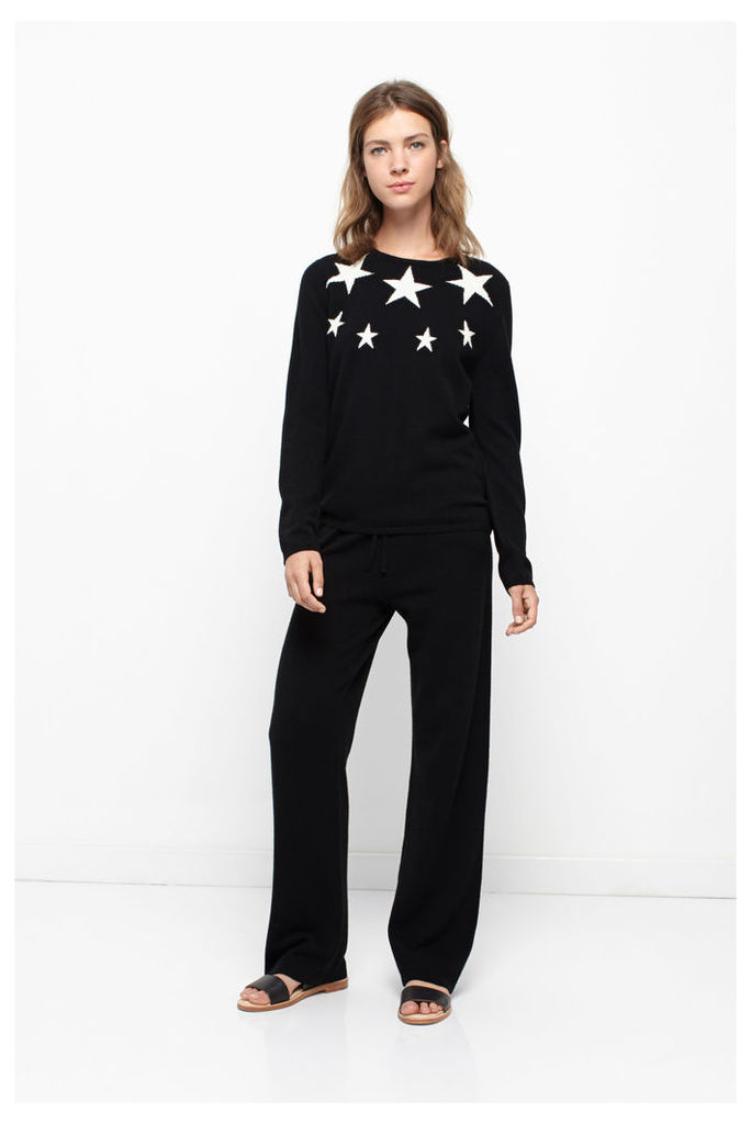 Star Panel Black Cashmere Sweater