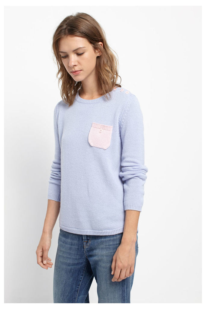 Blue Cashmere One Pocket Sweater