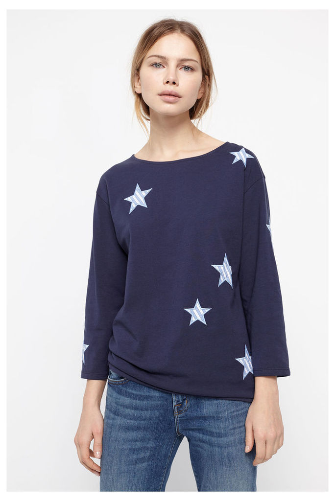 Navy Long Sleeved Applique Star T-Shirt