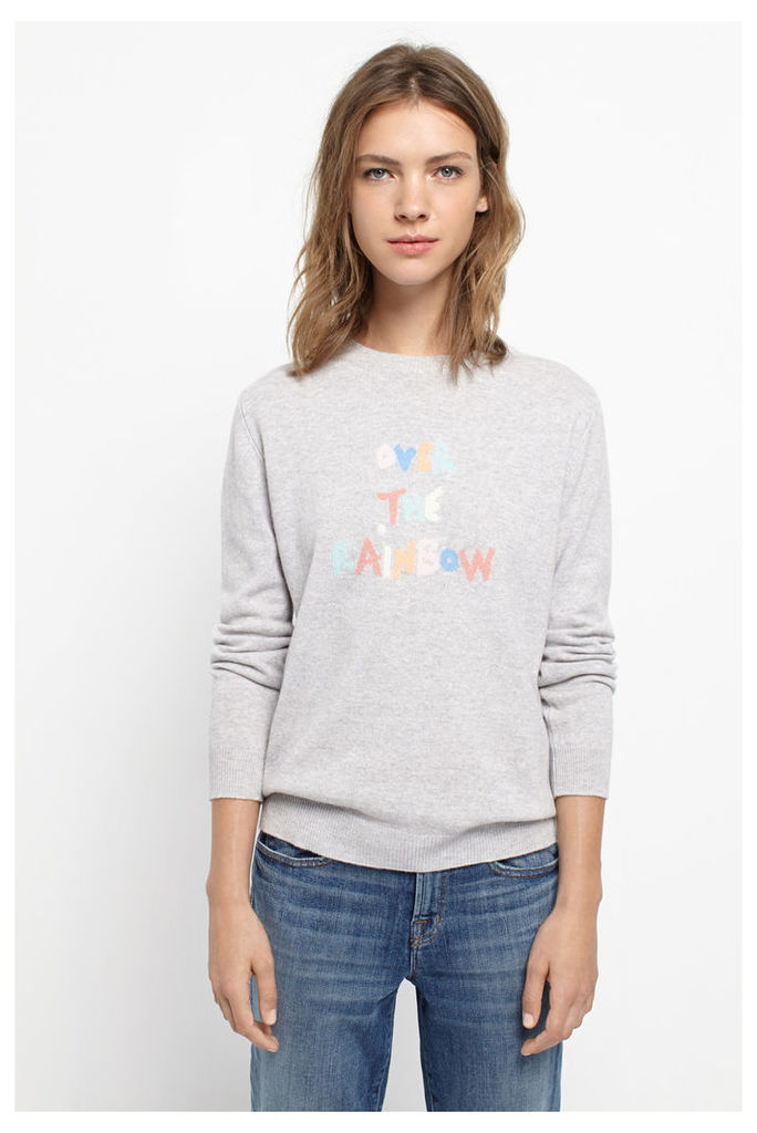 Over The Rainbow Silver Cashmere Sweater