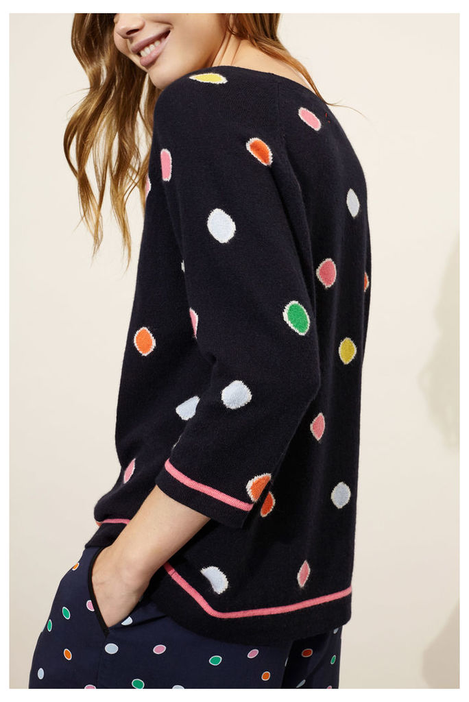 Navy Rainbow Dot Cashmere Sweater