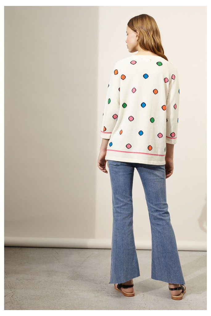 Cream Rainbow Dot Cashmere Sweater