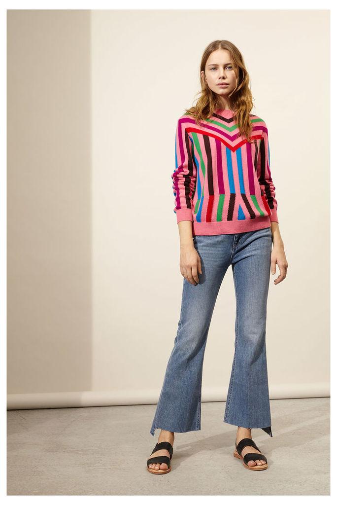 Pink Aztec Stripe Cashmere Sweater