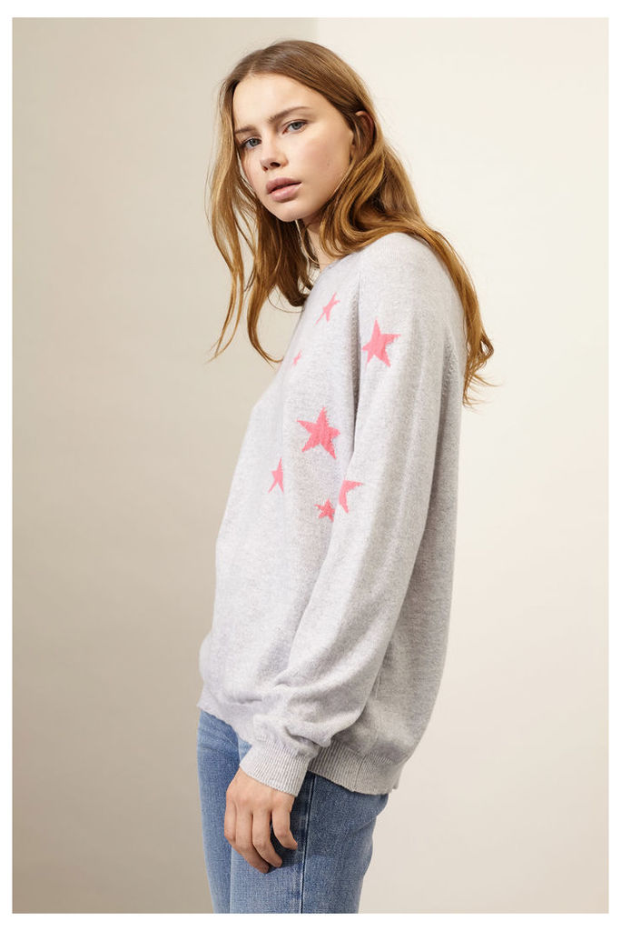 Grey Cashmere Slouchy Star Sweater