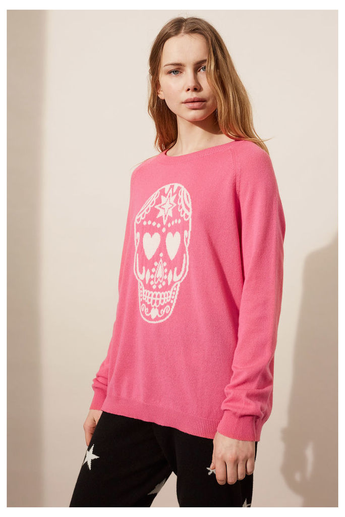NEW EXCLUSIVE Pink Cashmere Skull Sweater