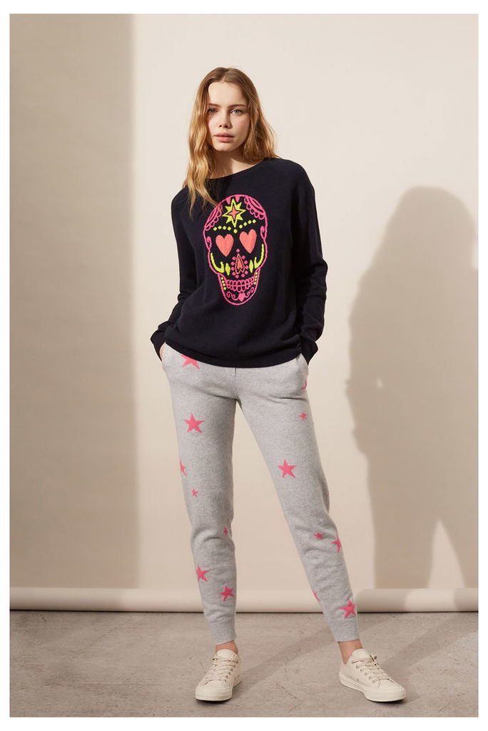 NEW EXCLUSIVE Navy Cashmere Skull Sweater