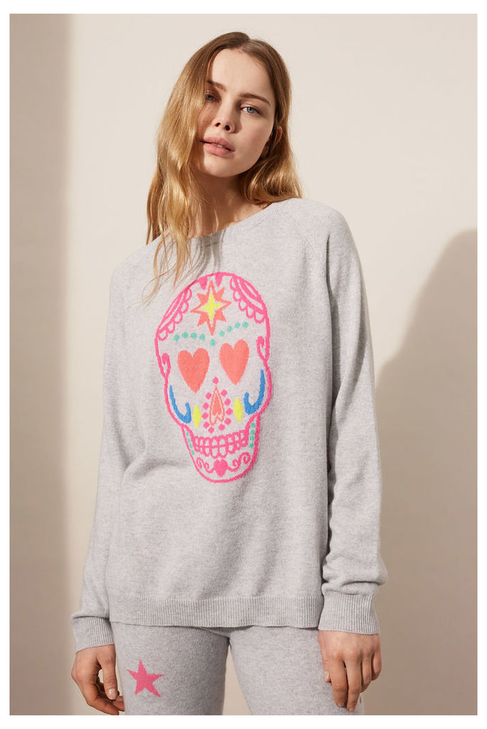 NEW EXCLUSIVE Grey Cashmere Skull Sweater