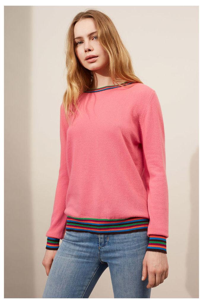 NEW Pink Stripe Cuff Cashmere Sweater