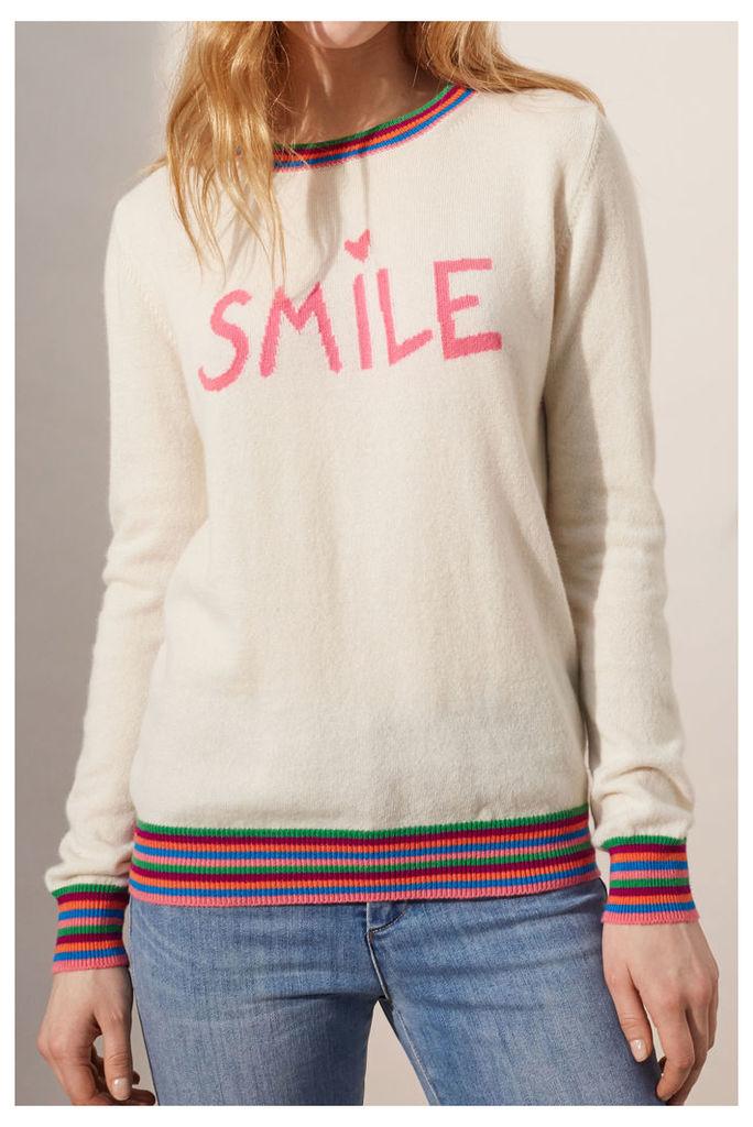 NEW EXCLUSIVE Cream Smile Cashmere Sweater