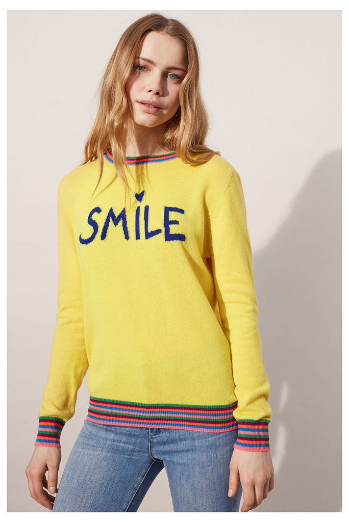 NEW EXCLUSIVE Yellow Smile Cashmere Sweater
