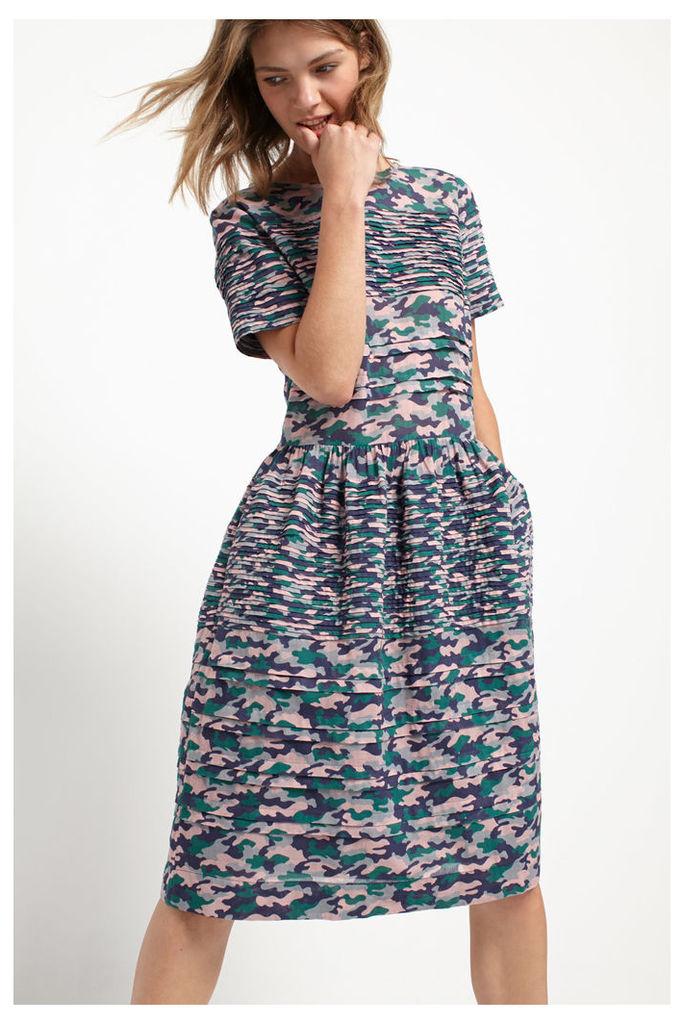 Pintuck Camo Dress