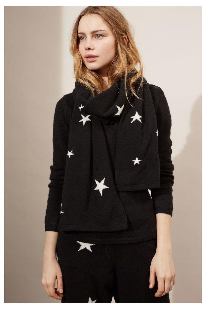 NEW Black & Cream Cashmere Star Scarf