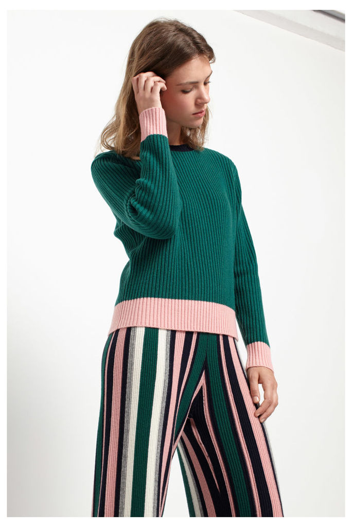 Green Ribbed Colour Block Sweater