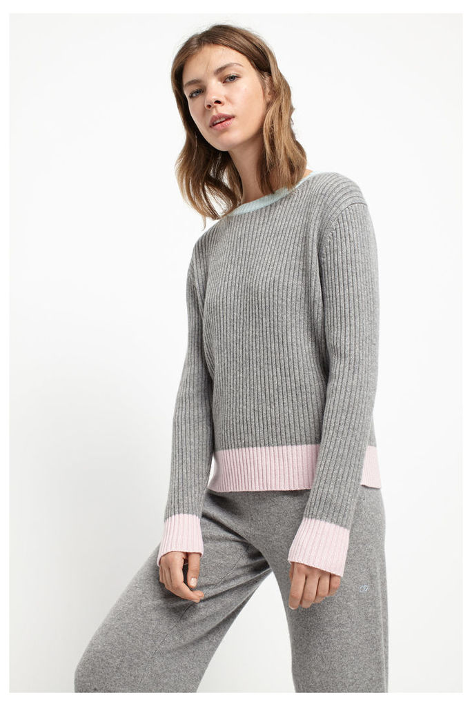 Grey Ribbed Colour Block Sweater