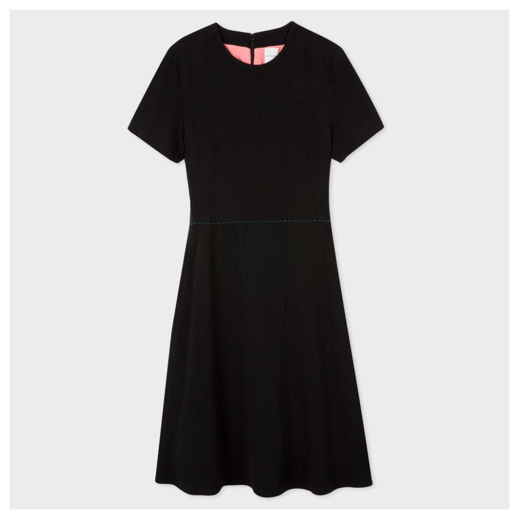 Women's Black Crêpe Shift Dress