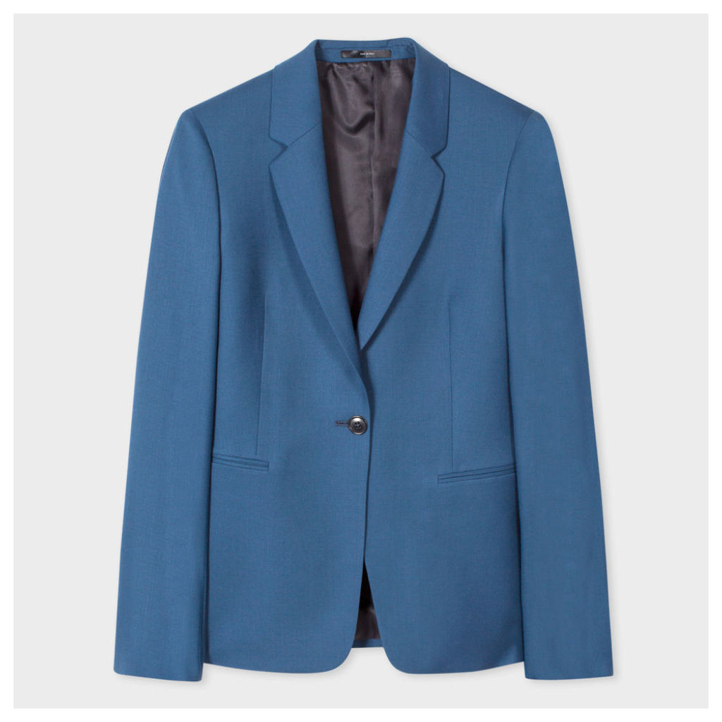 A Suit To Travel In - Women's Petrol Blue One-Button Wool Blazer
