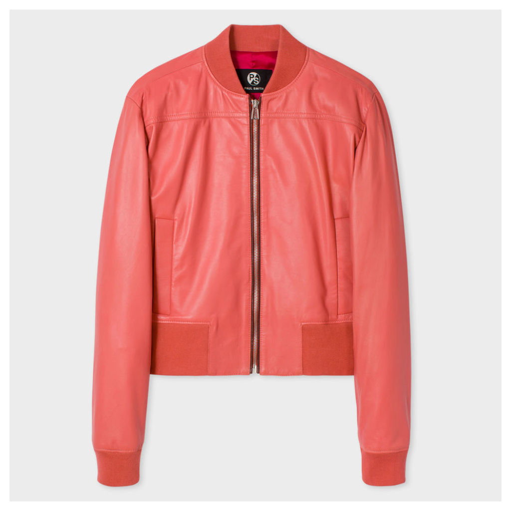 Women's Pink Leather Bomber Jacket