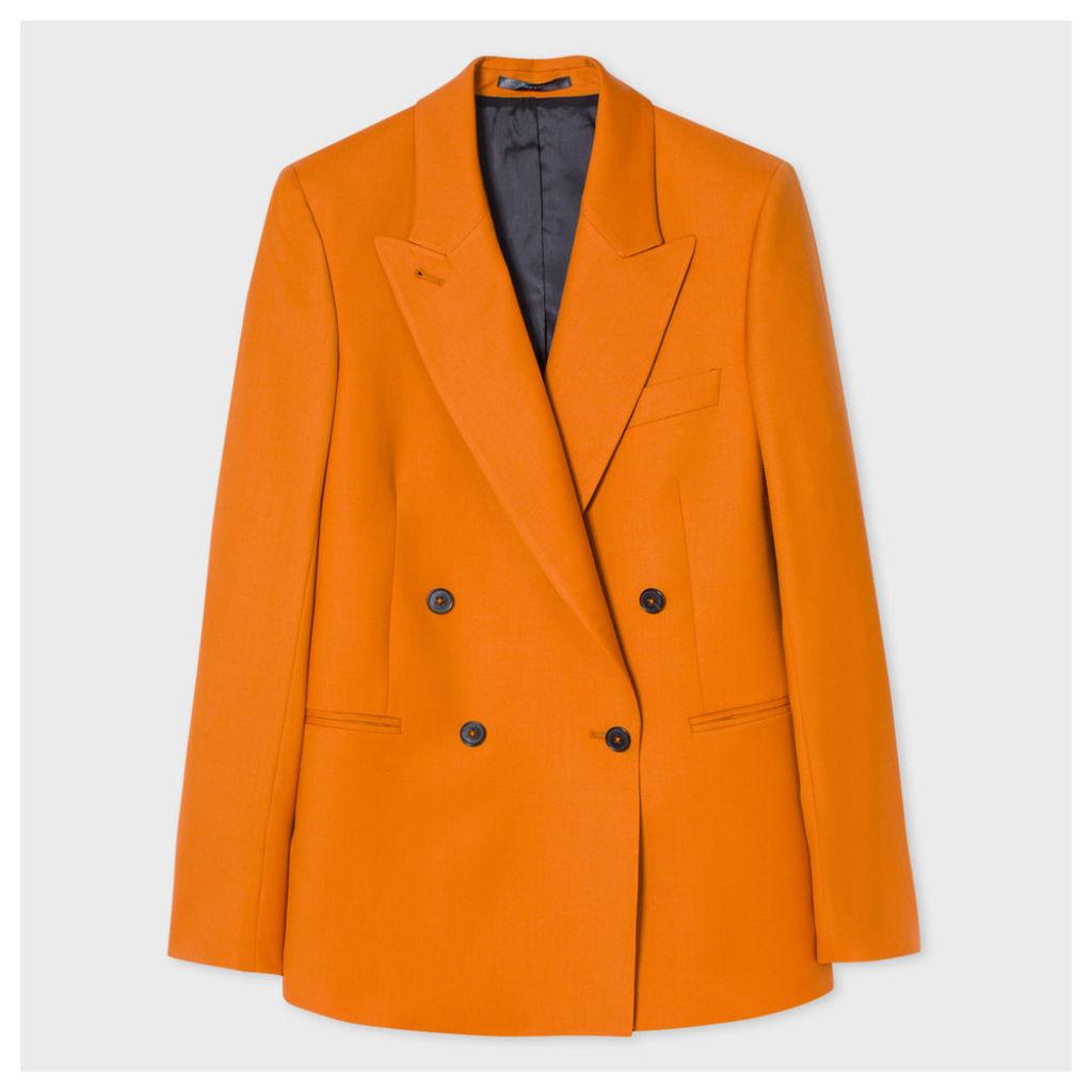 Women's Burnt Orange Wool Double-Breasted Blazer