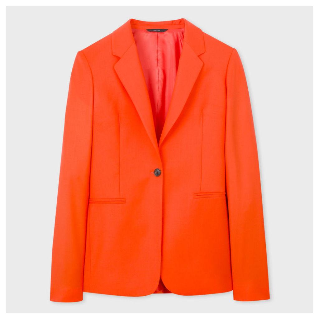 Women's Orange One-Button Wool Blazer