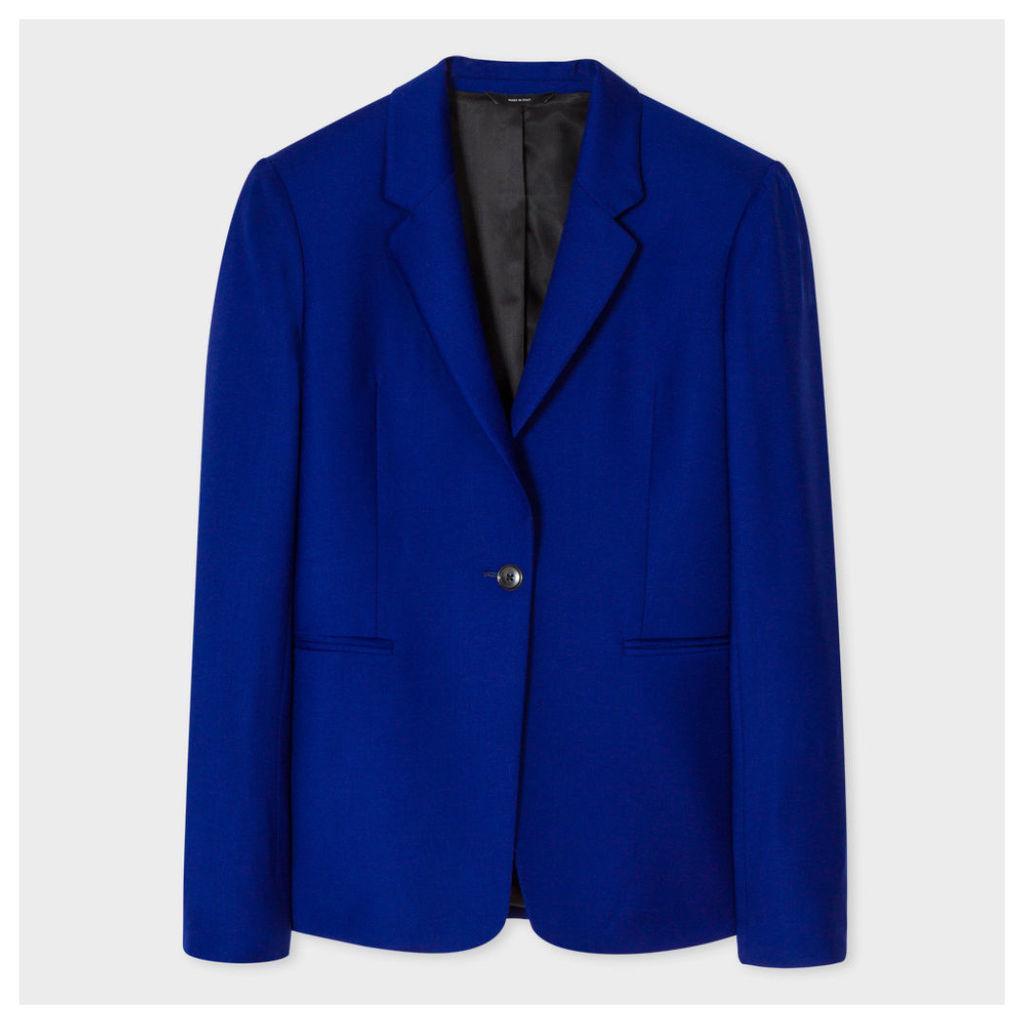 Women's Indigo One-Button Wool Blazer