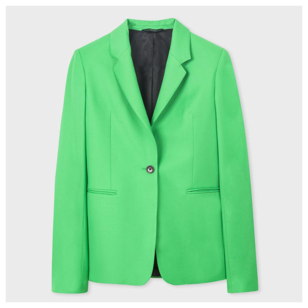 Women's Bright Green One-Button Wool Blazer