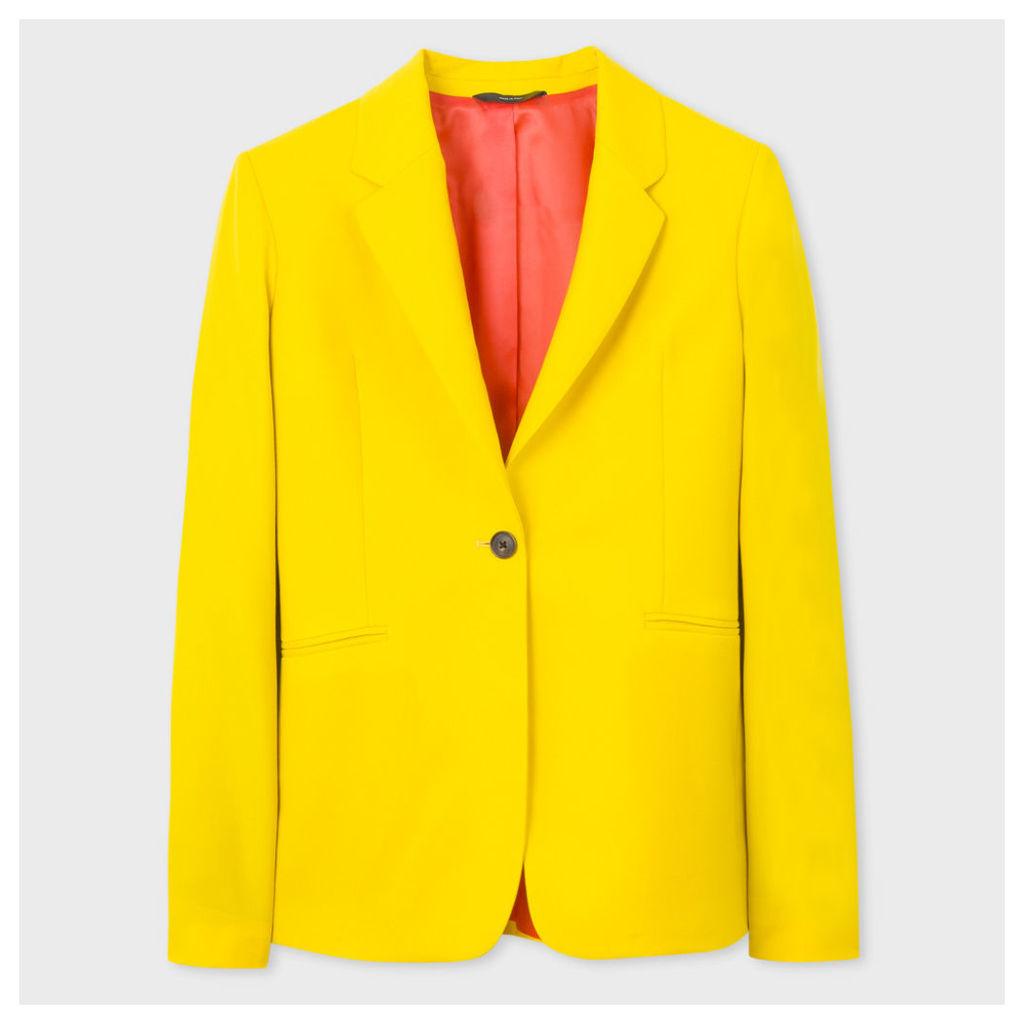 Women's Yellow One-Button Wool Blazer