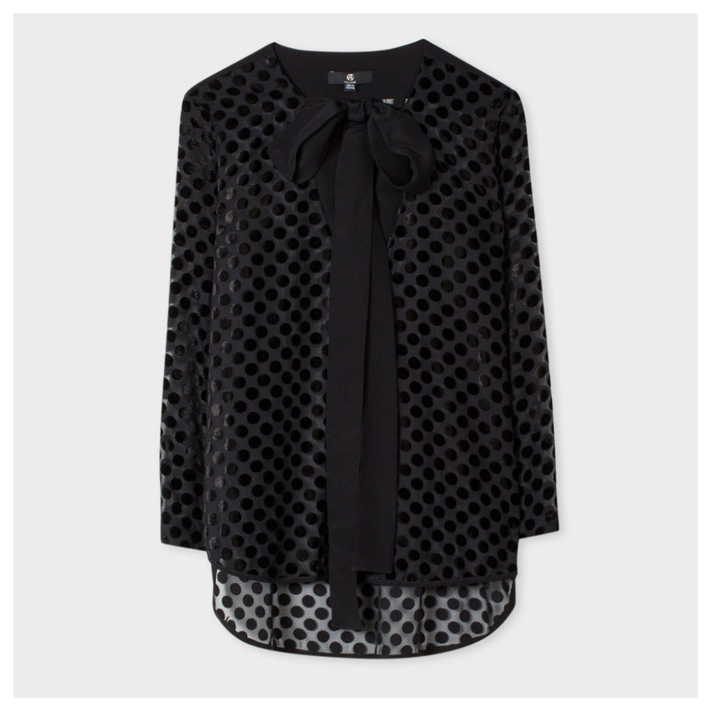 Women's Black Sheer Top With Flocked Polka Dots
