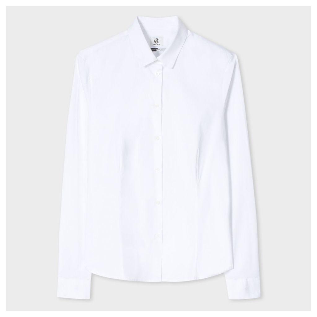 Women's White Cotton Shirt With 'Dancing Dice' Cuff Linings