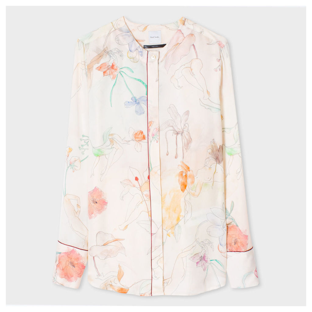 Women's Collarless Shirt With 'Floral Ladies' Print