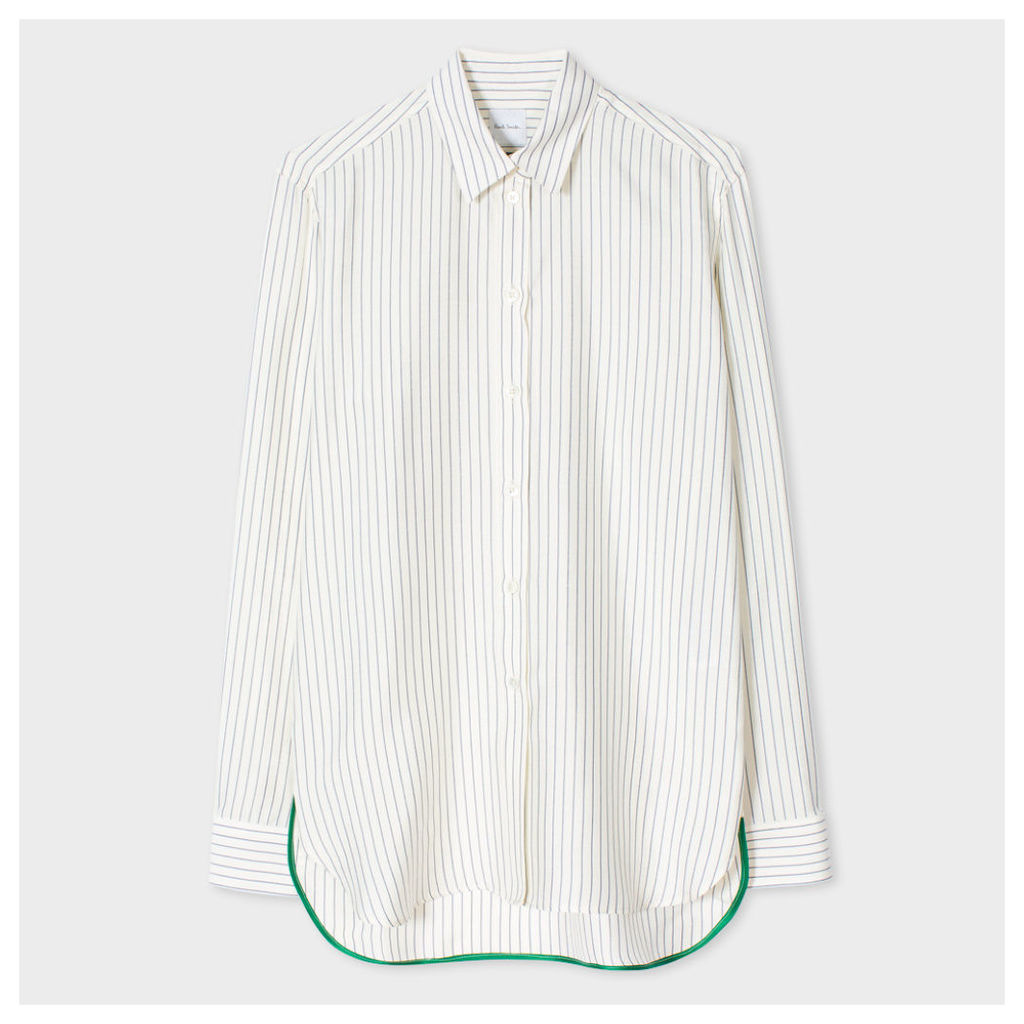 Women's Off-White And Navy Striped Silk Shirt