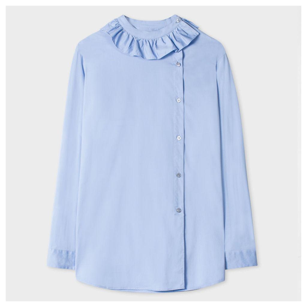 Women's Blue Asymmetric-Button Shirt With Frill Collar