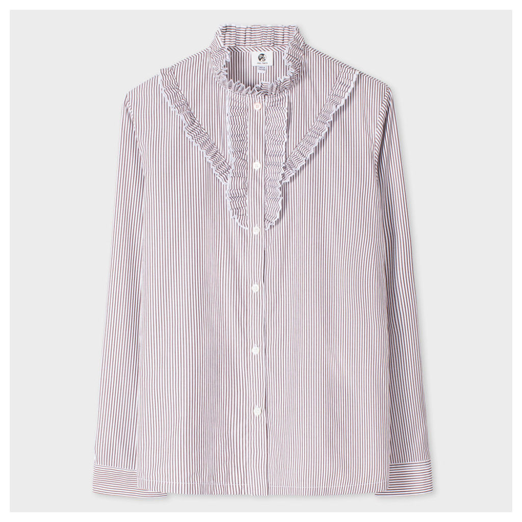 Women's White And Charcoal Striped Shirt With Frill Detailing