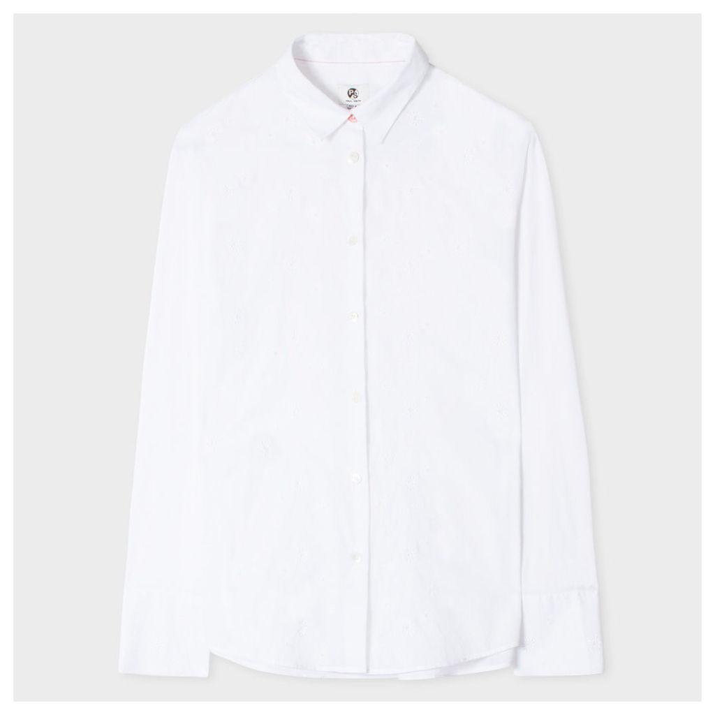 Women's White Broderie-Cotton Shirt