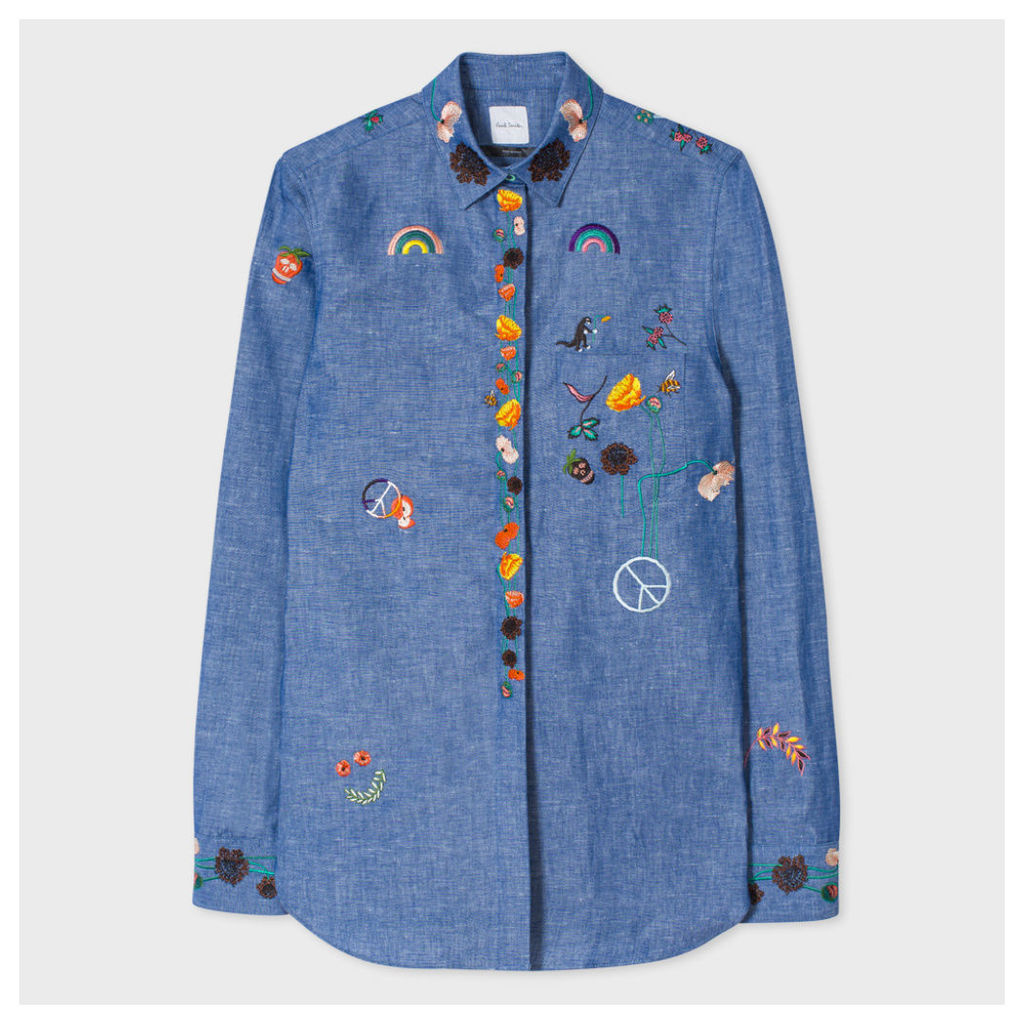 Women's Indigo Chambray Shirt With Embroidery