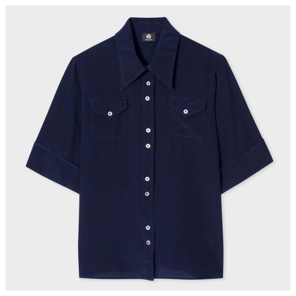 Women's Navy Silk Western Shirt