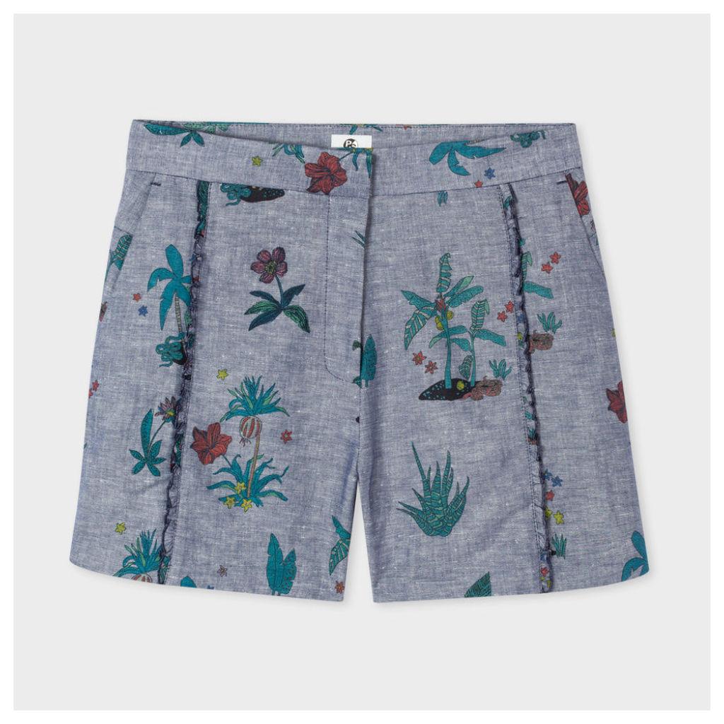 Women's Indigo 'Island' Print Chambray Shorts