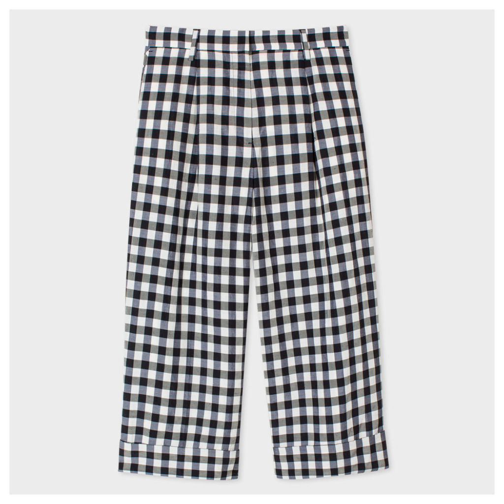 Women's Black And White Gingham Cropped Culottes