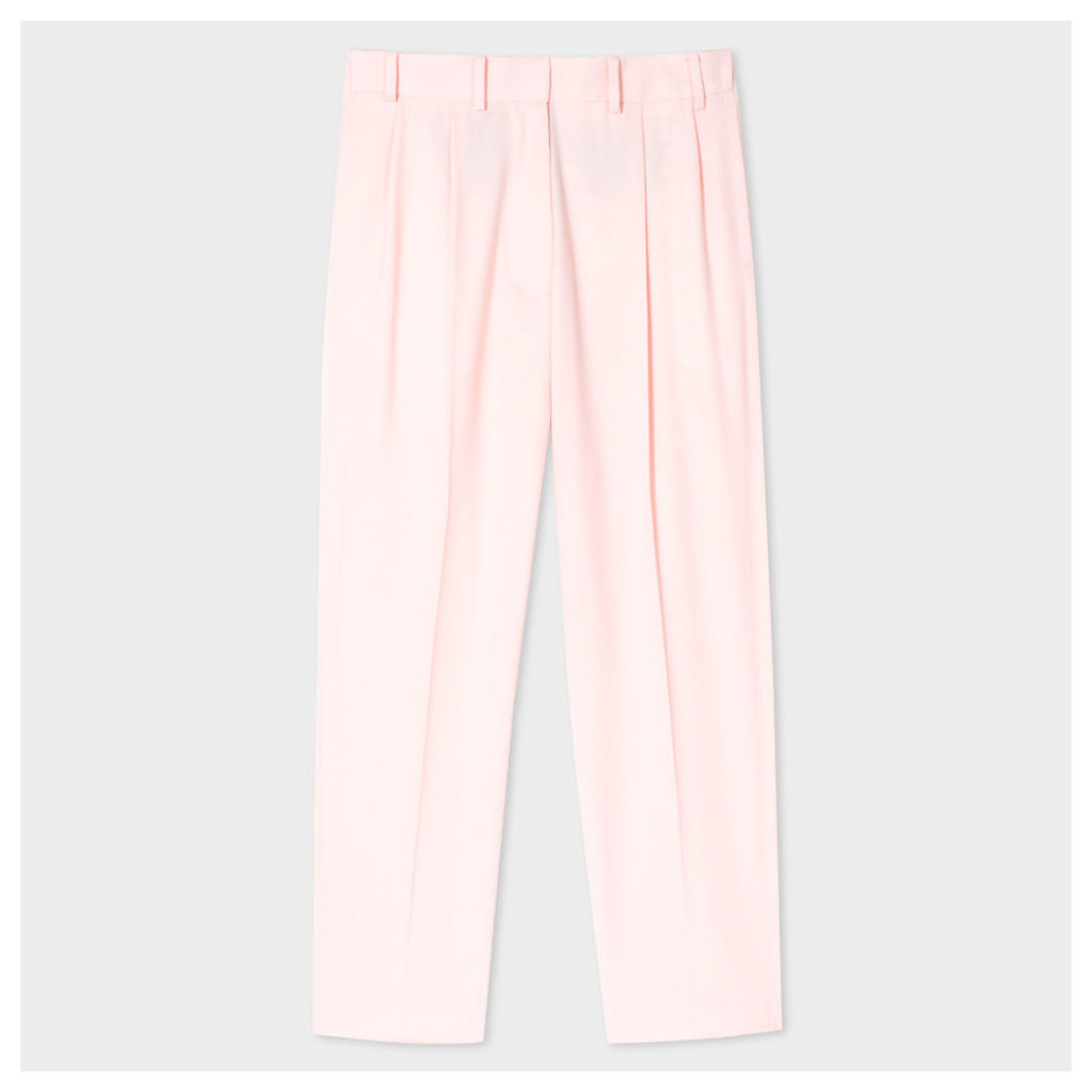 Women's Pale Pink Pleated Wool Trousers